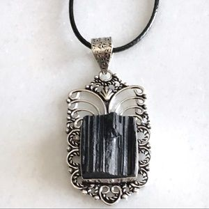 Natural Black Tourmaline Stone Pendant Necklace